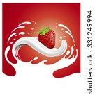 milk splash with strawberry... | Shutterstock .eps vector #331249994