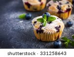 blueberry muffins with powdered ... | Shutterstock . vector #331258643