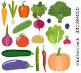 set of fresh healthy vegetables ... | Shutterstock .eps vector #331284020