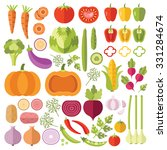vegetables flat icons set.... | Shutterstock . vector #331284674