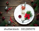 christmas table setting with... | Shutterstock . vector #331285070