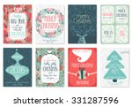 christmas hand drawn card set.... | Shutterstock .eps vector #331287596