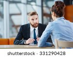 young woman at job interview | Shutterstock . vector #331290428