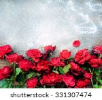 bouquet of red roses and frost  ...