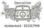 hippie vintage car a mini van.... | Shutterstock .eps vector #331317998