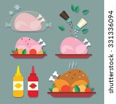 baked chicken set | Shutterstock .eps vector #331336094