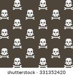 pixel art skull and bone... | Shutterstock .eps vector #331352420