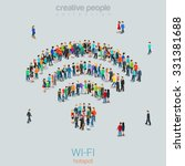 Flat 3d isometric style free public wi-fi hotspot concept web infographics vector illustration crowded square. Crowd group forming WiFi sign shape internet access point. Creative people collection. | Shutterstock vector #331381688