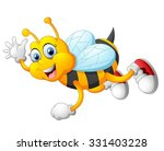 Cartoon Bee Waving Hand...