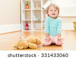 happy toddler girl playing with ... | Shutterstock . vector #331433060