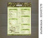 vintage vegetarian food menu...   Shutterstock .eps vector #331437170