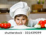 funny happy chef boy cooking at ...