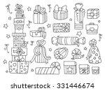doodle set of presents  ribbons ...