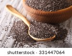 Healthy Chia Seeds In A Wooden...