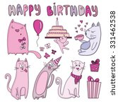 vector birthday card with funny ... | Shutterstock .eps vector #331462538