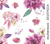 watercolor vintage floral... | Shutterstock . vector #331474214