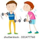 strong man and weak man...   Shutterstock .eps vector #331477760