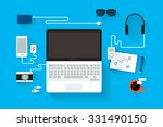 laptop computer on table. | Shutterstock .eps vector #331490150