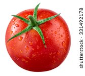 Tomato With Drops Isolated On...