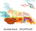 artistic water colored diwali... | Shutterstock .eps vector #331495169