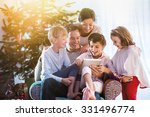 christmas morning  cheerful... | Shutterstock . vector #331496774