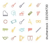 musical instruments line icon...
