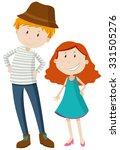 tall man and short girl... | Shutterstock .eps vector #331505276