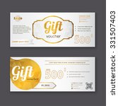 gift voucher template with gold ... | Shutterstock .eps vector #331507403