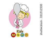 kids menu. children with spoon. | Shutterstock .eps vector #331512530