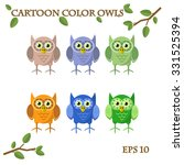 cartoon owls owl tree color leaf | Shutterstock .eps vector #331525394