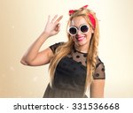 pin up girl making ok sign | Shutterstock . vector #331536668