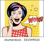 Woman In Pop Art Style With Wo...