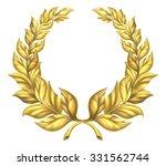a golden laurel wreath design...