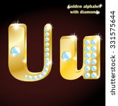 golden alphabet with diamonds ... | Shutterstock .eps vector #331575644