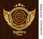 gold volleyball emblem on the... | Shutterstock .eps vector #331578368