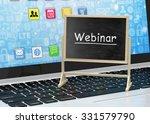 laptop with chalkboard  webinar ... | Shutterstock . vector #331579790