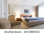 Stock photo interior of a double bed hotel room 331580423