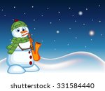 snowman wearing a green head... | Shutterstock .eps vector #331584440