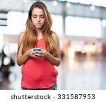 angry young woman typing a text ... | Shutterstock . vector #331587953