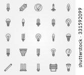 monochrome bulb icons   vector... | Shutterstock .eps vector #331592099