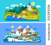 nice alps landscapes. mountain... | Shutterstock .eps vector #331593206