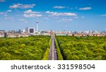 Stock photo aerial view of berlin skyline panorama with grosser tiergarten public park on a sunny day with blue 331598504