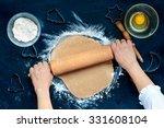 woman making dough for a... | Shutterstock . vector #331608104