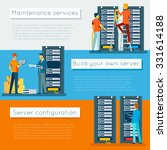 Data Center And Hosting Vector...