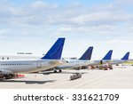 tails of some airplanes at... | Shutterstock . vector #331621709