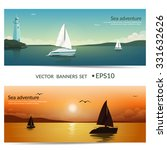 vector banners. blue sea  with... | Shutterstock .eps vector #331632626