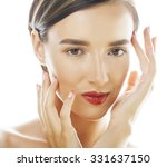 young brunette woman with hands ... | Shutterstock . vector #331637150