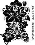 illustration with black flower...   Shutterstock . vector #33164755