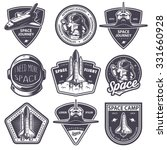 Set of vintage space and astronaut badges, emblems, logos and labels. Monochrome style | Shutterstock vector #331660928