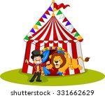 Cartoon Lion Jumping Through...